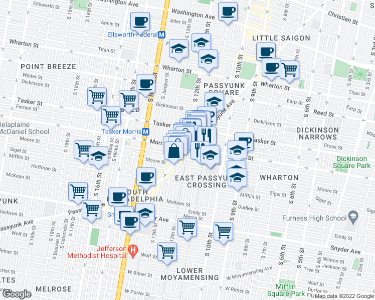map of restaurants, bars, coffee shops, grocery stores, and more near 1707 East Passyunk Avenue in Philadelphia