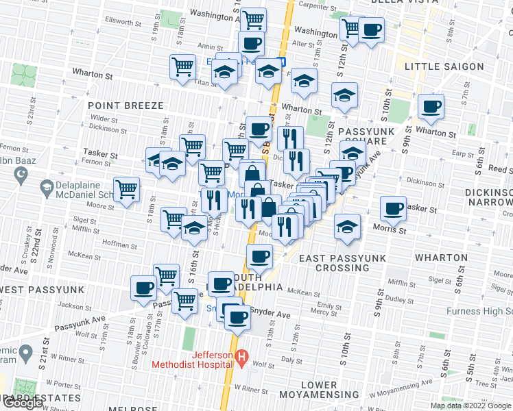 map of restaurants, bars, coffee shops, grocery stores, and more near S Broad St & Morris St in Philadelphia
