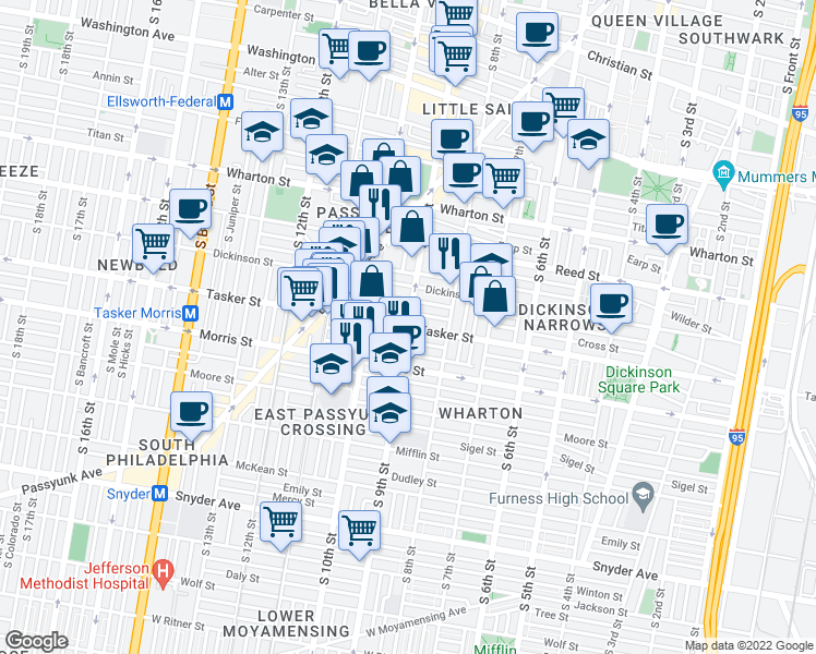 map of restaurants, bars, coffee shops, grocery stores, and more near Tasker Street & South 9th Street in Philadelphia