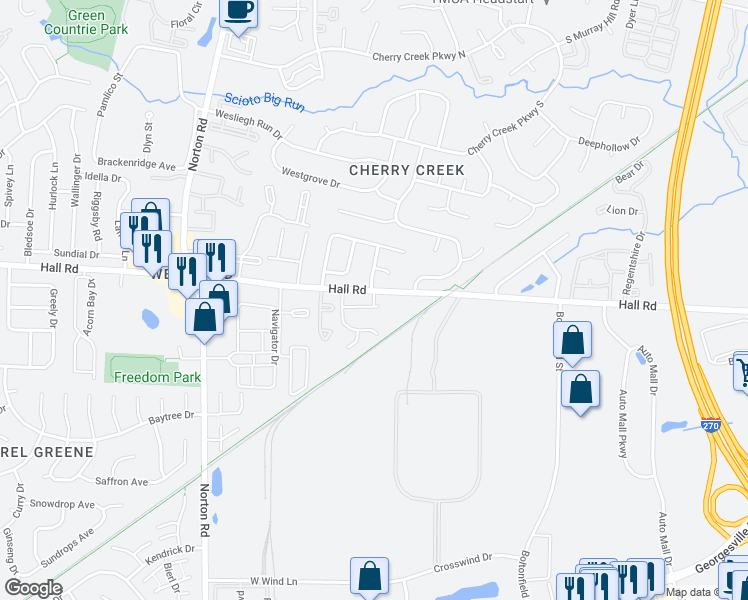 map of restaurants, bars, coffee shops, grocery stores, and more near 5400-5408 Plumway Court in Columbus