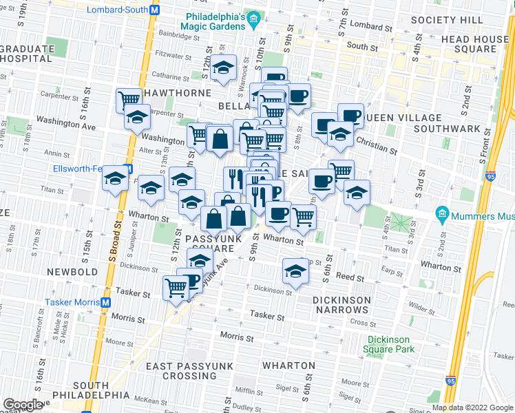 map of restaurants, bars, coffee shops, grocery stores, and more near 1172 S 9th St in Philadelphia