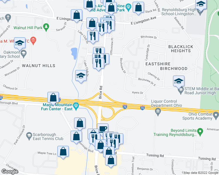 map of restaurants, bars, coffee shops, grocery stores, and more near 34 in Reynoldsburg