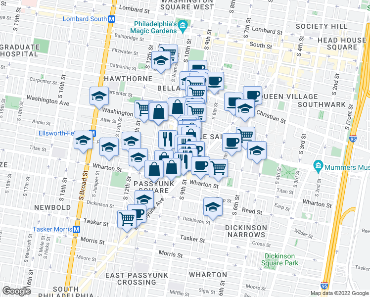map of restaurants, bars, coffee shops, grocery stores, and more near 908 Ellsworth Street in Philadelphia