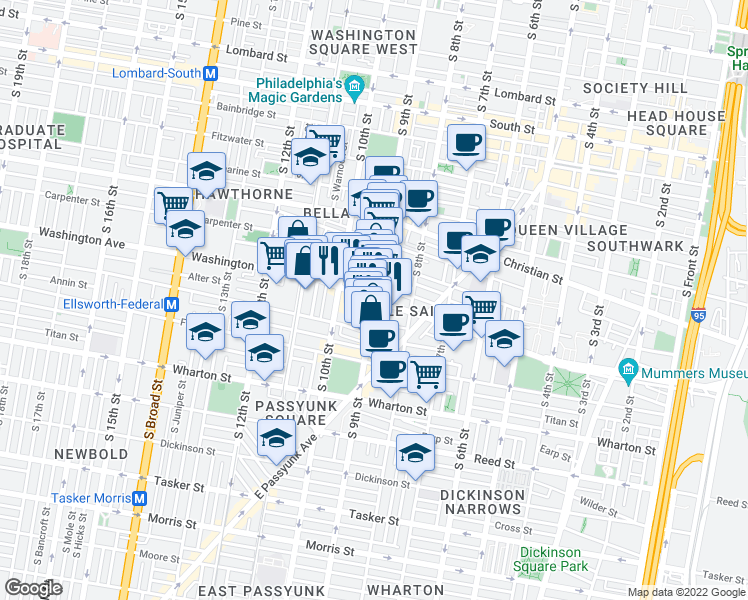 map of restaurants, bars, coffee shops, grocery stores, and more near 600 South 9th Street in Philadelphia