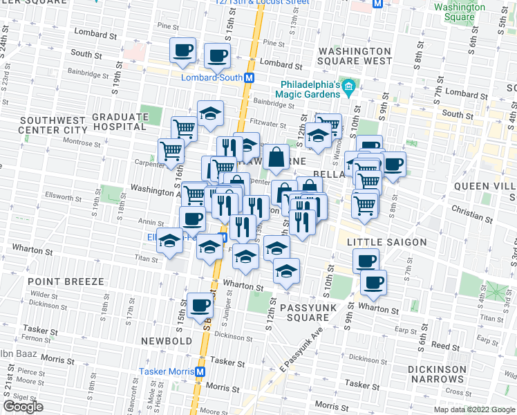 map of restaurants, bars, coffee shops, grocery stores, and more near Washington Avenue in Philadelphia