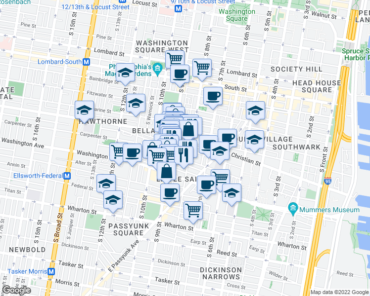 map of restaurants, bars, coffee shops, grocery stores, and more near 813 Montrose Street in Philadelphia