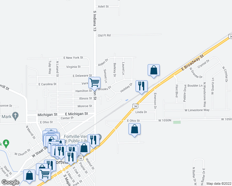 map of restaurants, bars, coffee shops, grocery stores, and more near 620 Bradley Dr in Fortville