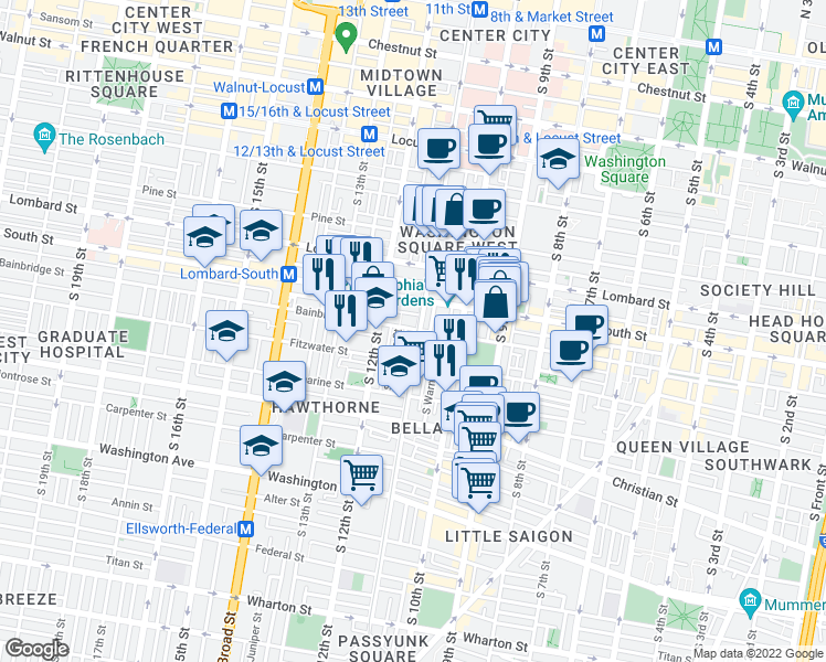 map of restaurants, bars, coffee shops, grocery stores, and more near 700 South 11th Street in Philadelphia