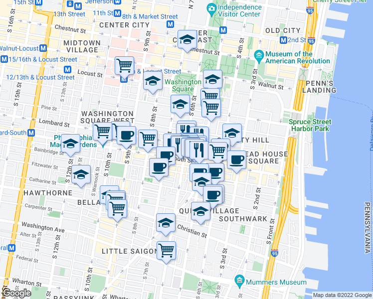 map of restaurants, bars, coffee shops, grocery stores, and more near 509 South 6th Street in Philadelphia