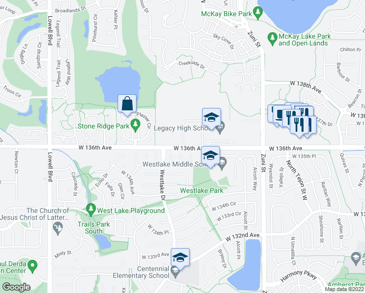 map of restaurants, bars, coffee shops, grocery stores, and more near 2885-2901 West 136th Avenue in Broomfield