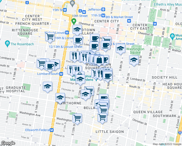 map of restaurants, bars, coffee shops, grocery stores, and more near 13 Lombard Street in Philadelphia