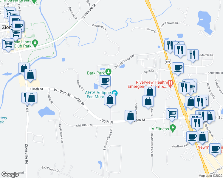 map of restaurants, bars, coffee shops, grocery stores, and more near Bennett Pkwy in Zionsville