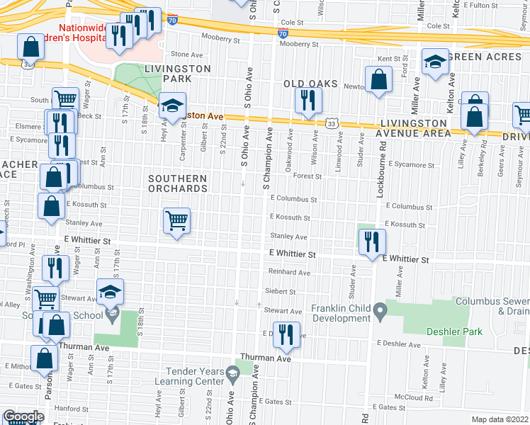 map of restaurants, bars, coffee shops, grocery stores, and more near 970 S Champion Ave in Columbus
