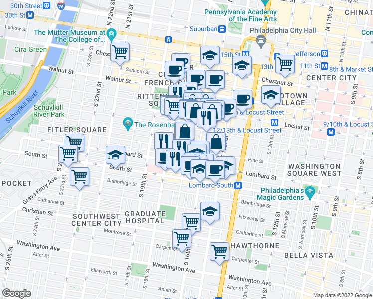 map of restaurants, bars, coffee shops, grocery stores, and more near South 17th Street & Pine Street in Philadelphia