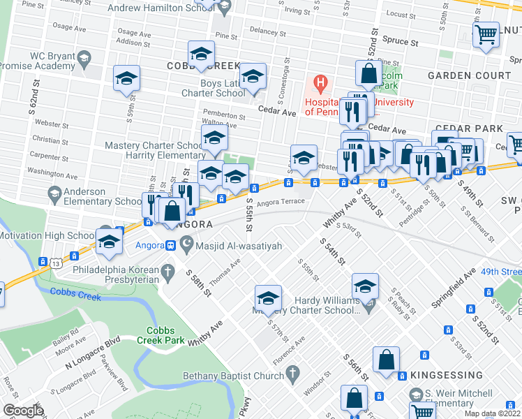 map of restaurants, bars, coffee shops, grocery stores, and more near 5438 Angora Terrace in Philadelphia