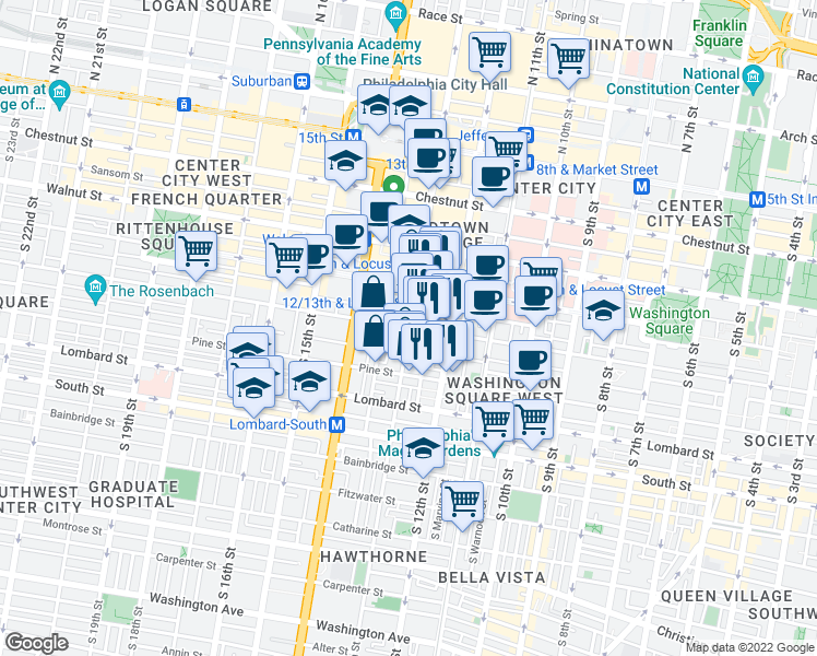 map of restaurants, bars, coffee shops, grocery stores, and more near South 13th Street & Spruce Street in Philadelphia