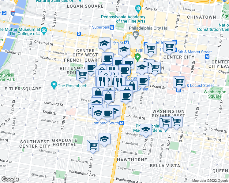 map of restaurants, bars, coffee shops, grocery stores, and more near South 15th Street & Spruce Street in Philadelphia