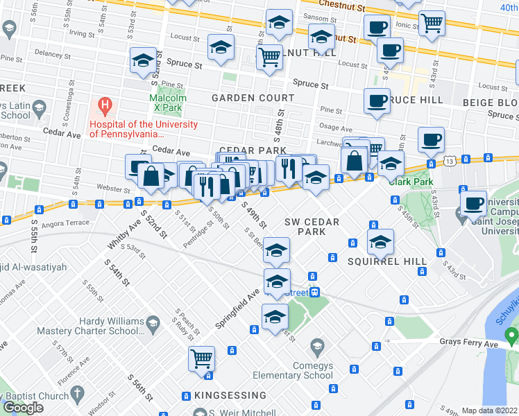 map of restaurants, bars, coffee shops, grocery stores, and more near 4822 Florence Avenue in Philadelphia