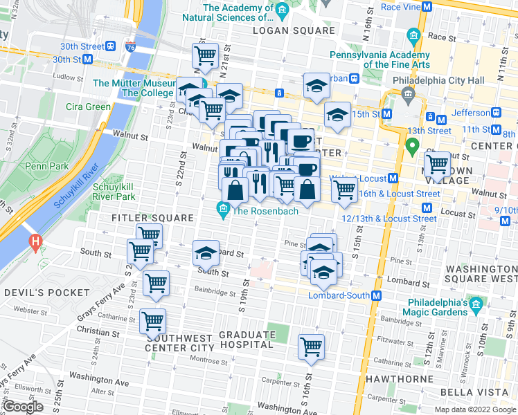 map of restaurants, bars, coffee shops, grocery stores, and more near South 19th Street & Spruce Street in Philadelphia