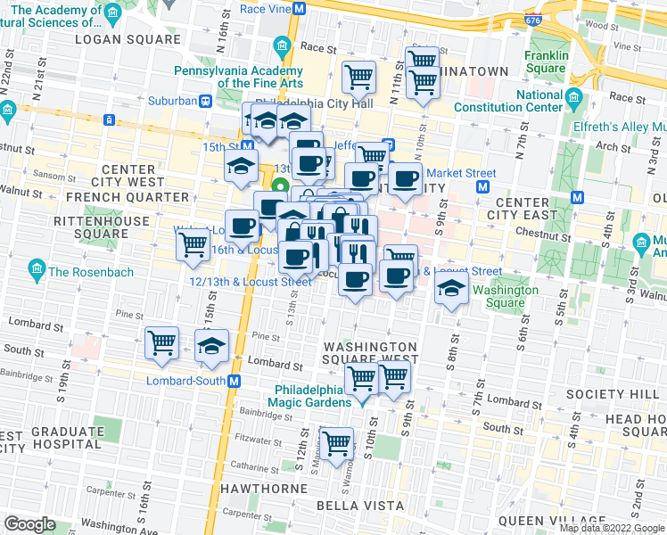 map of restaurants, bars, coffee shops, grocery stores, and more near 1102 Locust St in Philadelphia