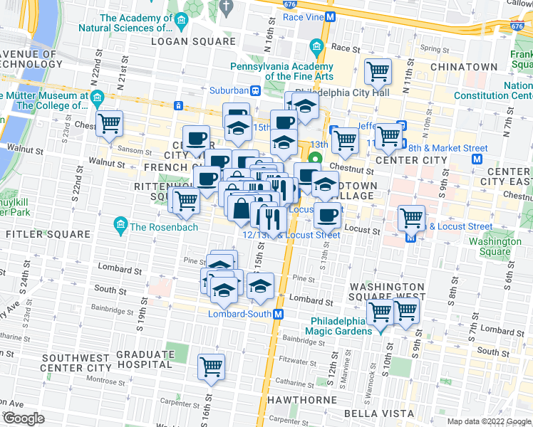 map of restaurants, bars, coffee shops, grocery stores, and more near South 15th Street & Locust Street in Philadelphia