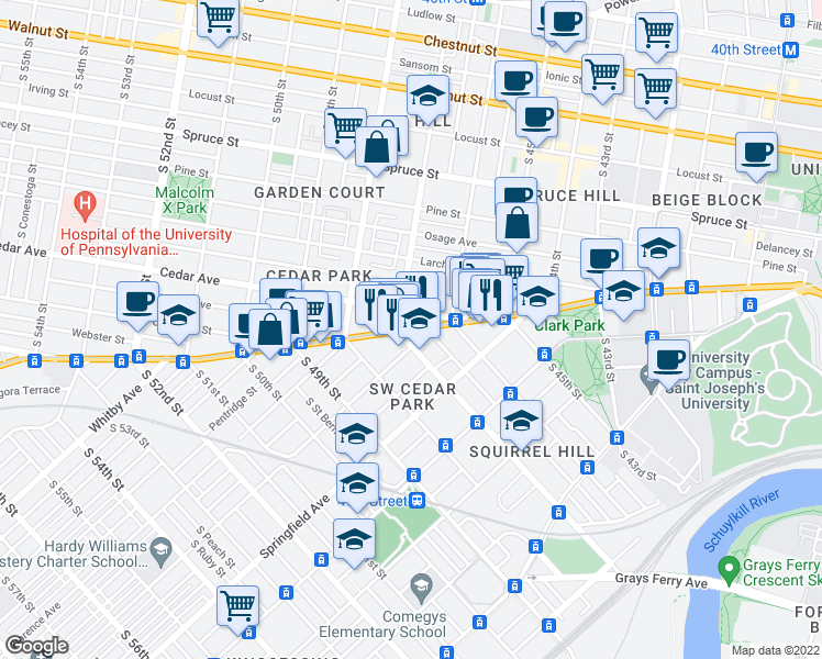 map of restaurants, bars, coffee shops, grocery stores, and more near Baltimore Avenue & South 47th Street in Philadelphia