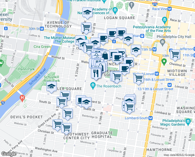 map of restaurants, bars, coffee shops, grocery stores, and more near Rittenhouse Square in Philadelphia