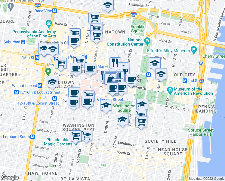 map of restaurants, bars, coffee shops, grocery stores, and more near South 8th Street & Sansom Street in Philadelphia