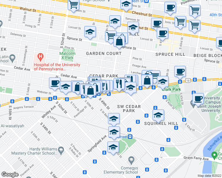 map of restaurants, bars, coffee shops, grocery stores, and more near S 48th St & Walton Ave in Philadelphia