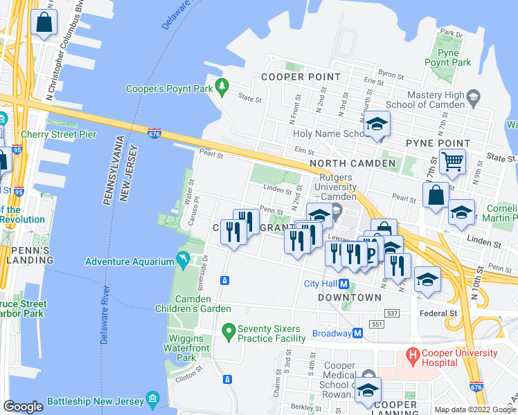 map of restaurants, bars, coffee shops, grocery stores, and more near Penn St & Point St in Camden