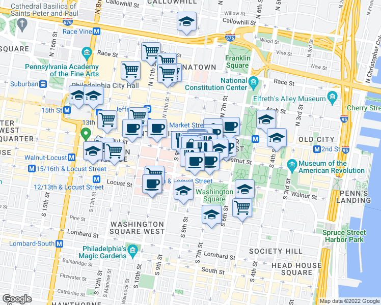 map of restaurants, bars, coffee shops, grocery stores, and more near 812 Chestnut Street in Philadelphia