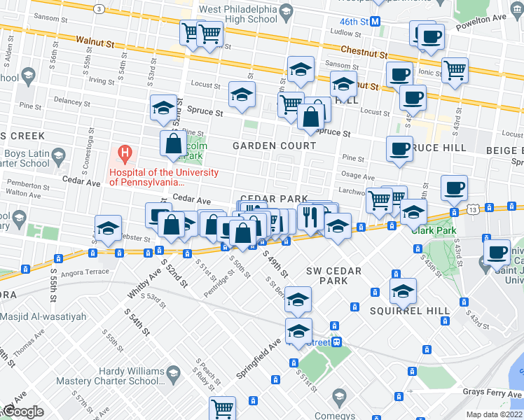 map of restaurants, bars, coffee shops, grocery stores, and more near South 49th Street & Cedar Avenue in Philadelphia