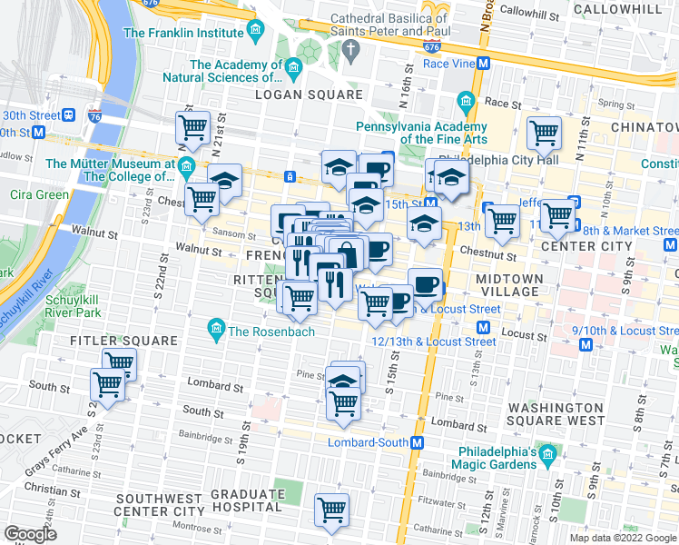 map of restaurants, bars, coffee shops, grocery stores, and more near 1705 Chancellor Street in Philadelphia