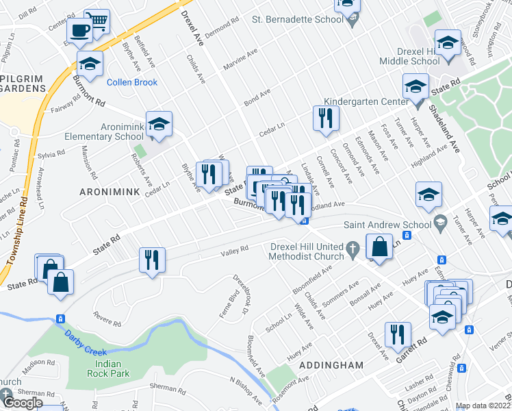 map of restaurants, bars, coffee shops, grocery stores, and more near 4331 Woodland Avenue in Upper Darby