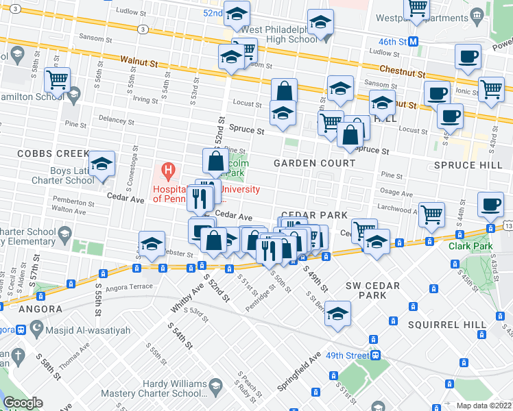 map of restaurants, bars, coffee shops, grocery stores, and more near 5026 Hazel Ave in Philadelphia