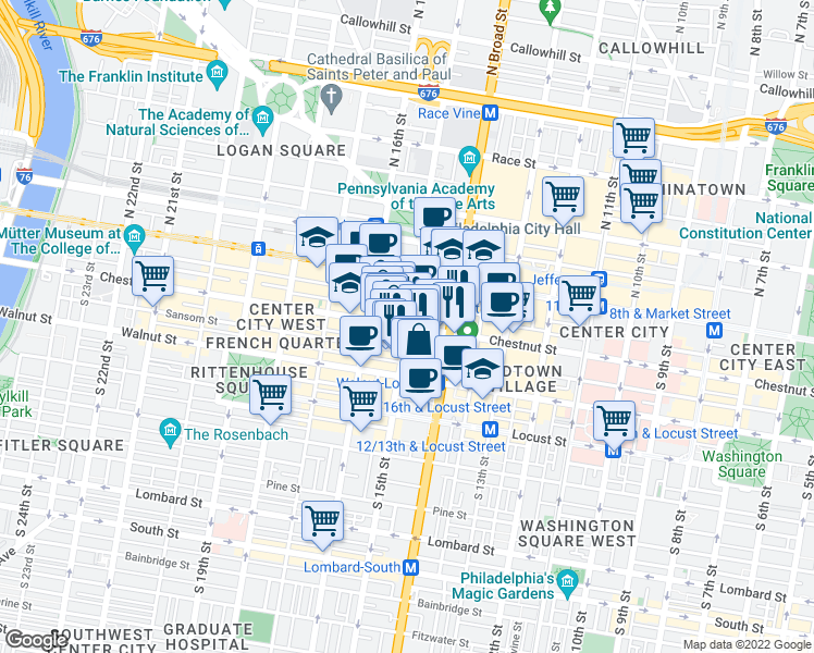 map of restaurants, bars, coffee shops, grocery stores, and more near Chestnut Street & South 15th Street in Philadelphia