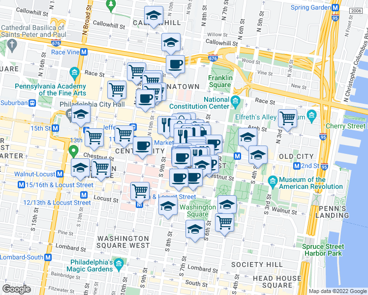 map of restaurants, bars, coffee shops, grocery stores, and more near Market Street & North 8th Street in Philadelphia