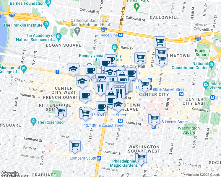 map of restaurants, bars, coffee shops, grocery stores, and more near 1339-1399 Chestnut Street in Philadelphia