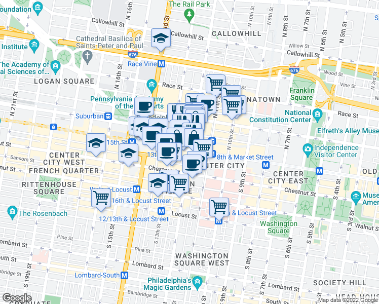 map of restaurants, bars, coffee shops, grocery stores, and more near 1234 Market Street in Philadelphia