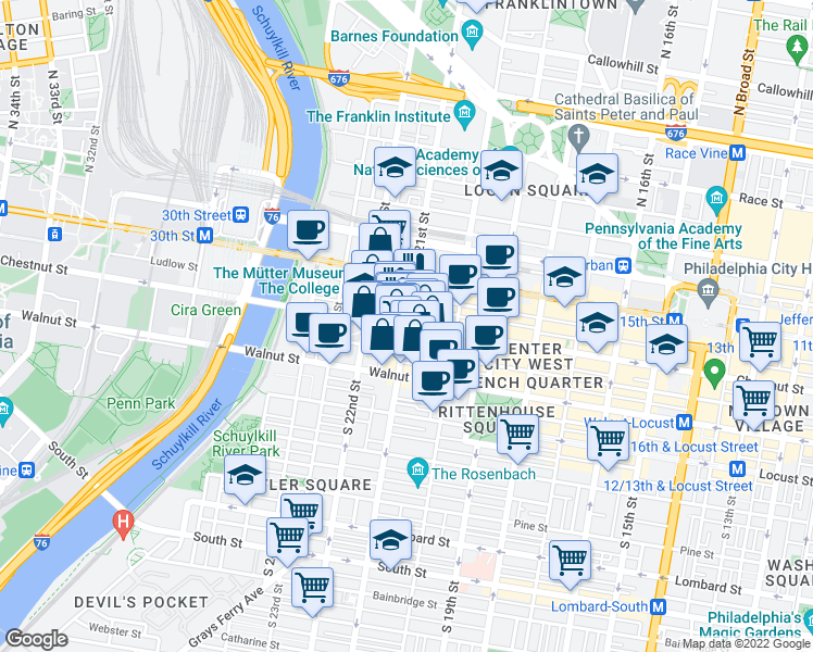 map of restaurants, bars, coffee shops, grocery stores, and more near Chestnut Street & South 21st Street in Philadelphia