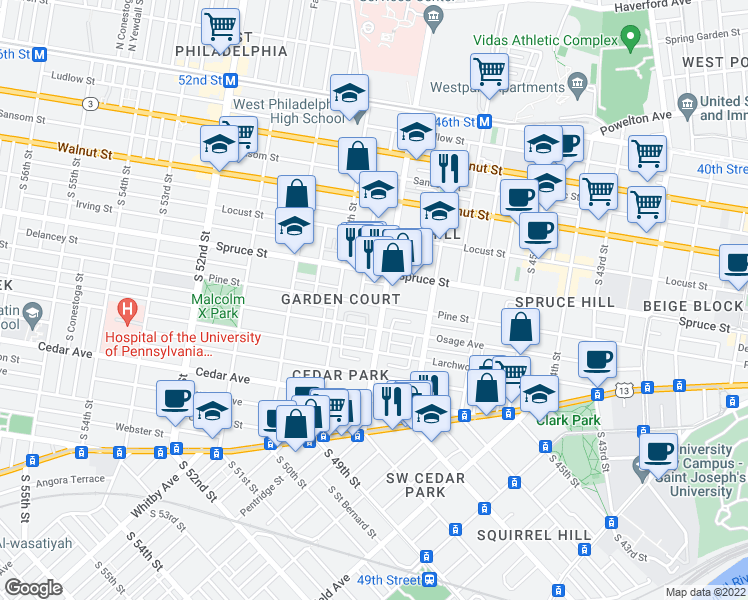 map of restaurants, bars, coffee shops, grocery stores, and more near 4807 Pine St in Philadelphia