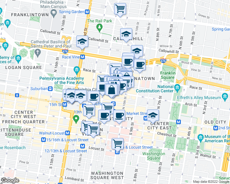 map of restaurants, bars, coffee shops, grocery stores, and more near North 11th Street & Arch Street in Philadelphia