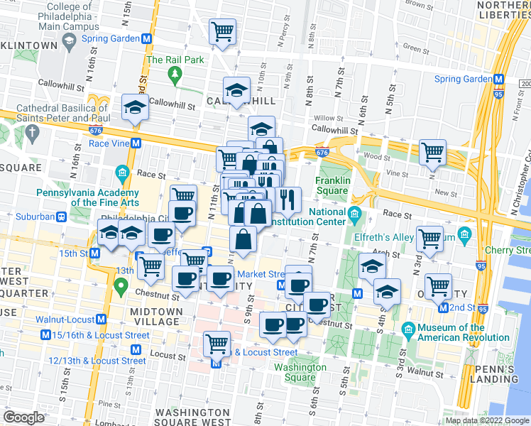 map of restaurants, bars, coffee shops, grocery stores, and more near Cherry St & N 9th St in Philadelphia