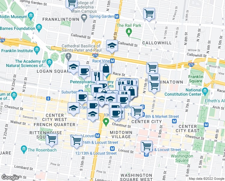 map of restaurants, bars, coffee shops, grocery stores, and more near Arch Street in Philadelphia