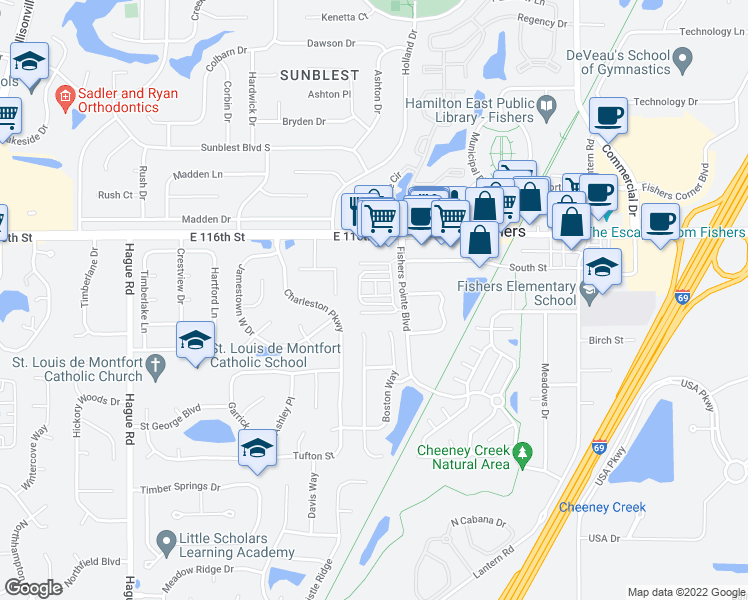 map of restaurants, bars, coffee shops, grocery stores, and more near 8266 Ethan Dr in Fishers
