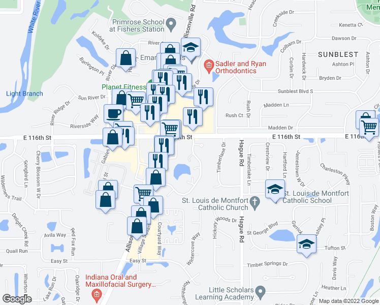 map of restaurants, bars, coffee shops, grocery stores, and more near 609-641 Conner Creek Drive in Fishers