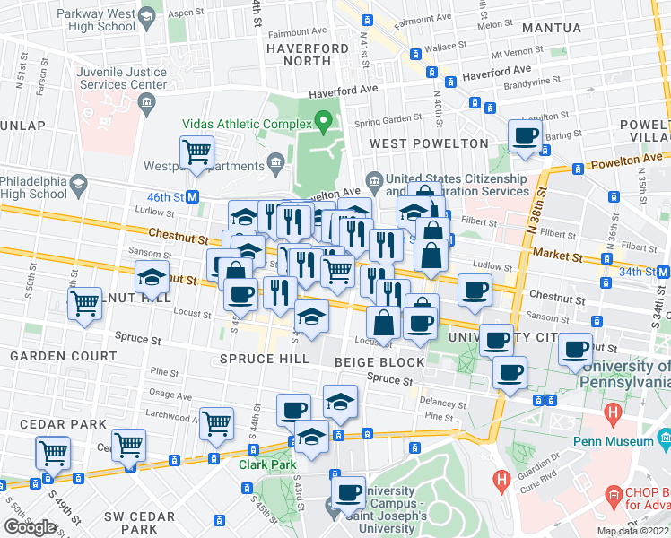 map of restaurants, bars, coffee shops, grocery stores, and more near 4230 Chestnut Street in Philadelphia
