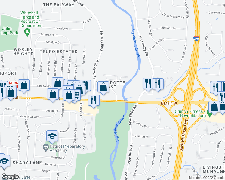 map of restaurants, bars, coffee shops, grocery stores, and more near 5312 Gatehouse Dr in Whitehall