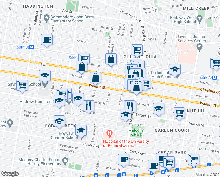 map of restaurants, bars, coffee shops, grocery stores, and more near Walnut St & S 54th St in Philadelphia
