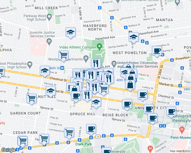 map of restaurants, bars, coffee shops, grocery stores, and more near 06 S 43rd St in Philadelphia